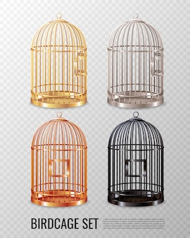 Set of empty closed canary birdcage