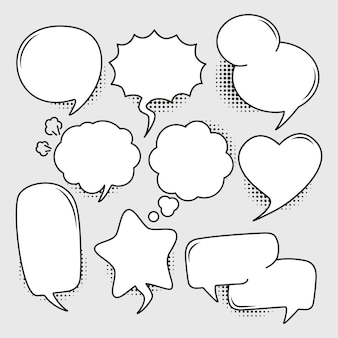 Set of empty comic bubbles with the halftone effect shadow