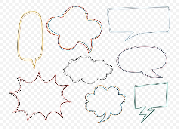 Set of empty comic speech bubbles on transparent  background