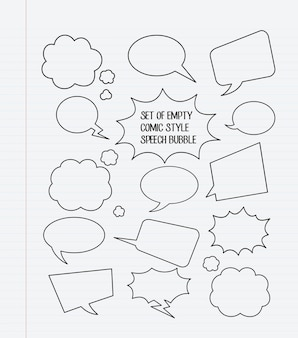 A set of empty comic style speech bubbles