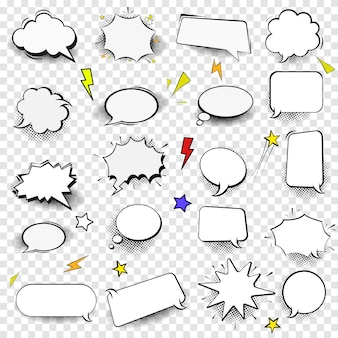 Set of empty comic style speech bubles.design elements for poster, t shirt, banner. image