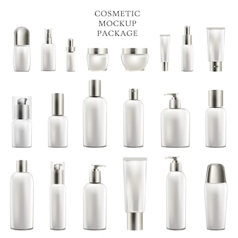 Set of empty containers for body and face cosmetic