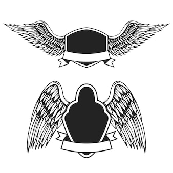 Set of the empty emblems with wings.  elements for logo, label, badge, sign.  illustration