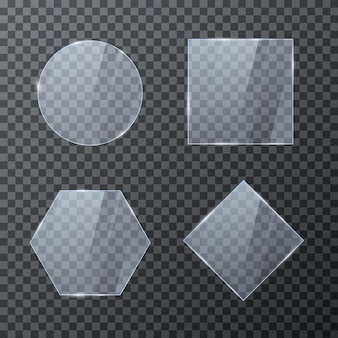 Set of empty glass geometric frames