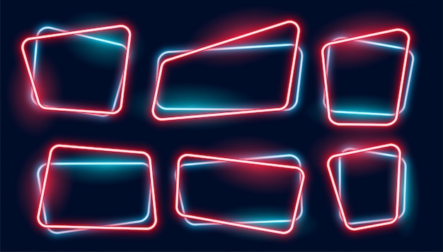 Set of empty glowing neon frames banner
