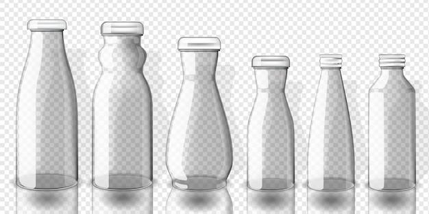 Set of empty juice bottles mockup