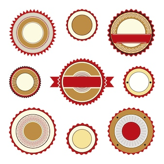 Set of empty labels badges and stickers with guilloche elements in brown and burgundy colors
