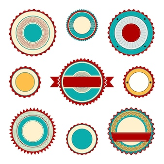 Set of empty labels, badges and stickers with guilloche elements. in maroon and turquoise colors.