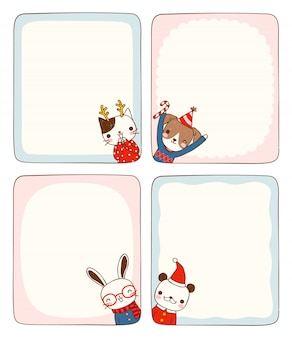 Set of empty message cards with animals in winter costume