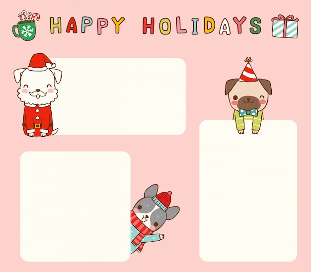 Set of empty message christmas cards with cute dogs
