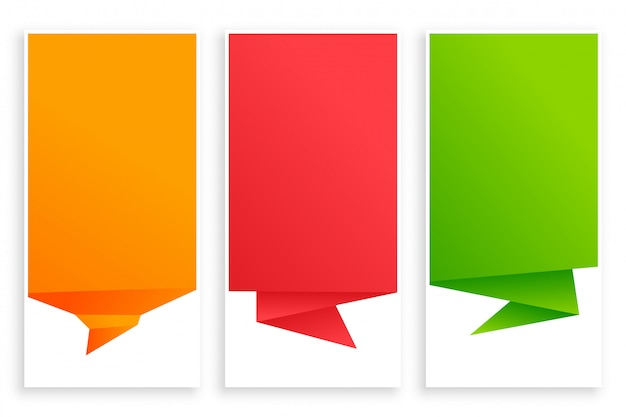 Set of empty origami chat bubble banner