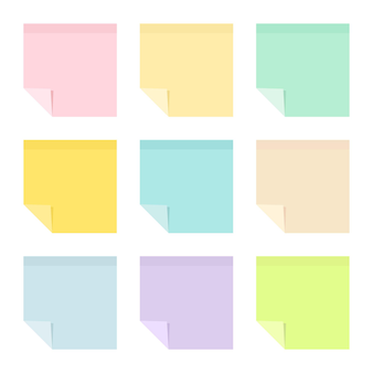 Set of empty pastel colored sticky paper notes with curled corners. school and office supplies collection. flat vector illustration isolated on white background