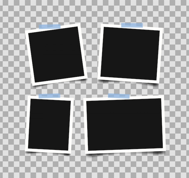 Set of empty photo frames with adhesive tape isolated on transparent.