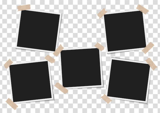 Set of empty photo frames with adhesive tape on transparent background