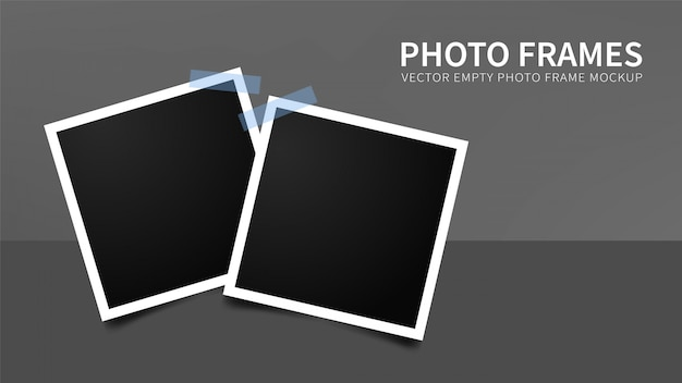 Set of empty photo frames with blue adhesive tapes