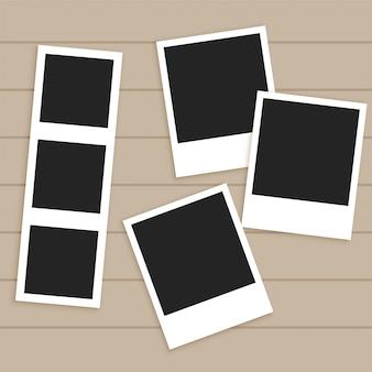 Set of empty photo frames