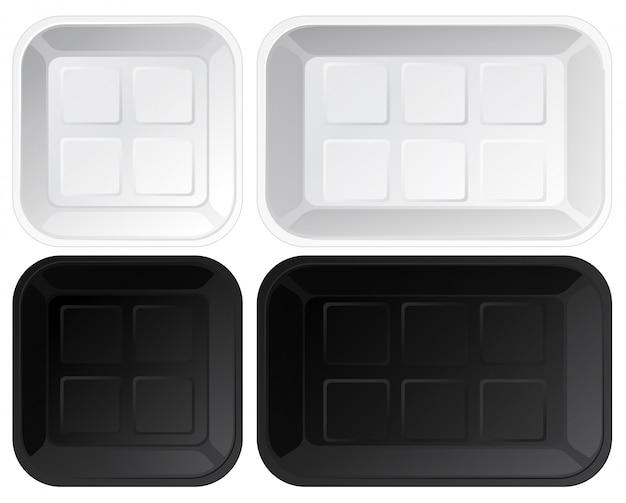 Set of empty plastic trays