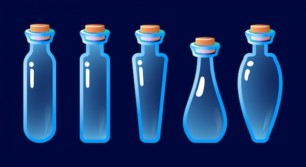 Set of empty potion bottle for game ui