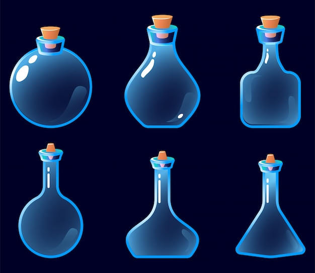 Set of empty potion bottle icon for game ui asset elements