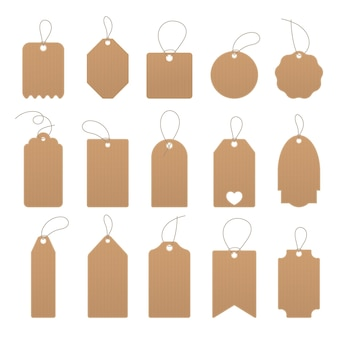 Set of empty price tags or discount stickers. card design for discounts and gifts. blank organic labels. cardboard and paper price tags on the rope. vector illustration.