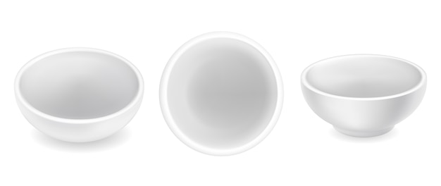 Set of  empty round sauce bowls. white ceramic condiment ramekins  on background. top and side view. small realistic sauceboat