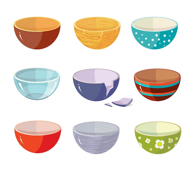 Set of empty soup plates with different patterns