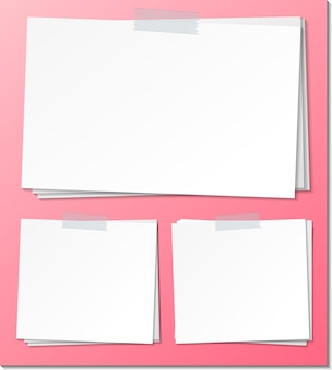 Set of empty sticky note paper template