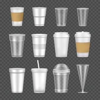 Set of empty, transparent, realistic mockup glasses for drinks.