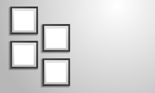 Set of empty white picture frames