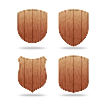 Set of empty wooden shapes