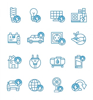 Set of energy icons with outline style.