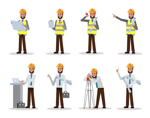 Set of engineer man