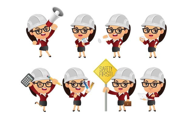 Set of engineer  with different poses.
