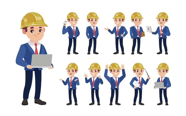 Set of engineer with different poses