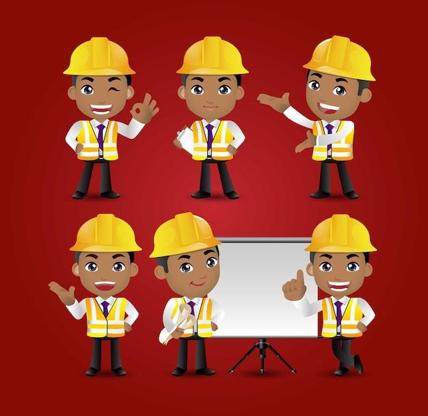 Set of engineer worker