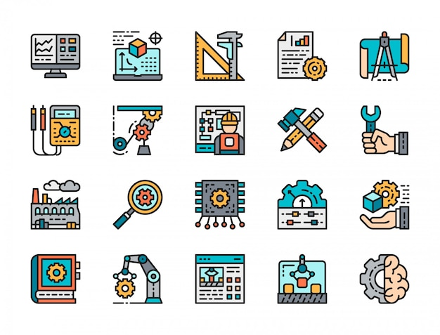 Set of engineering flat color icons.