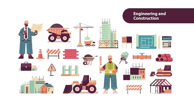 Набор иконок инженерных инструментов с архитектором смешанной гонки и инженером в шлемах, работающим на строительной площадке, изолированное пространство для копирования