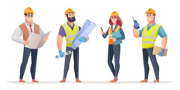 Set of engineers cartoon character