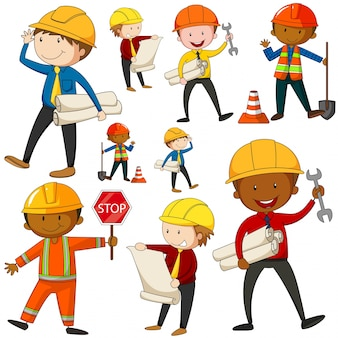 Set of engineers and construction workers illustration