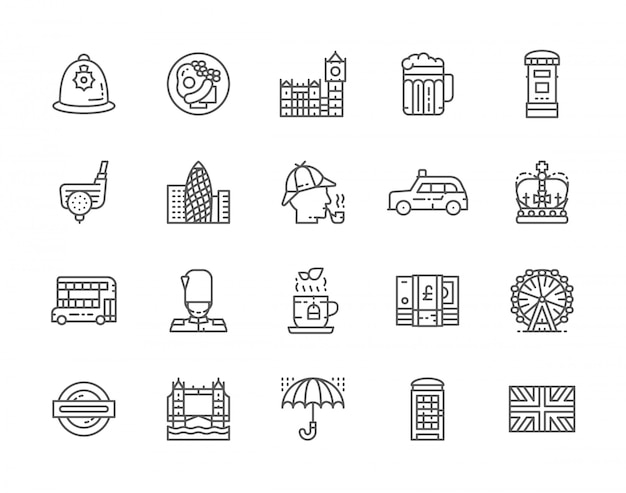 Set of english culture line icons.