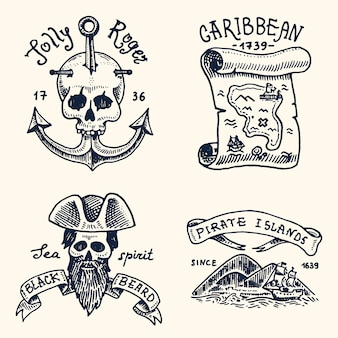 Set of engraved, hand drawn, old, labels or badges for corsairs, skull at anchor, map to treasure, black beard, caribbean island. jolly roger.