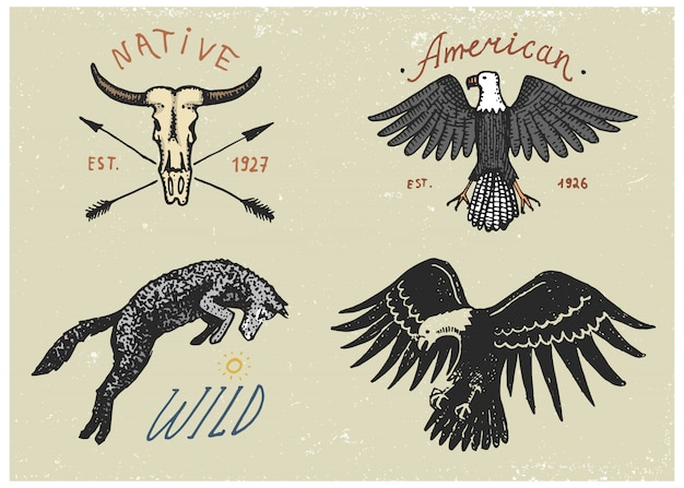 Set of engraved vintage, hand drawn, old, labels or badges for camping, hiking, hunting with bald eagle, wild wolf and buffalo skull