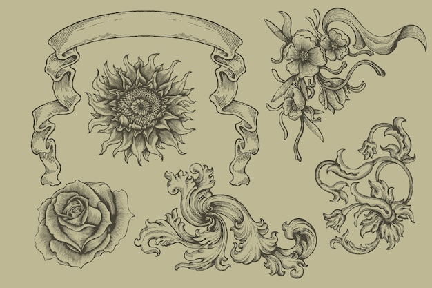 Set of engraving banner and floral