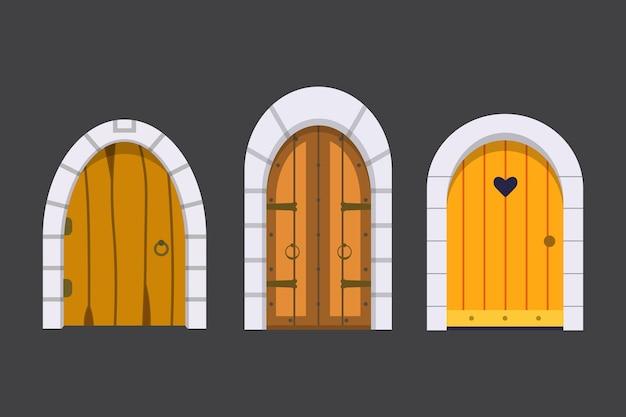 출입문 전면보기를 설정합니다. 만화 스타일의 주택과 건물 요소.