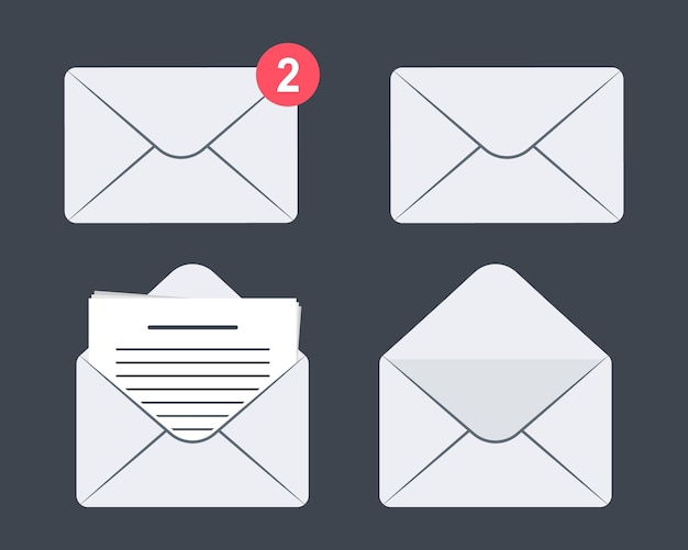 Set of envelope icon. mail. incoming message, open and read message. set of mail message icons