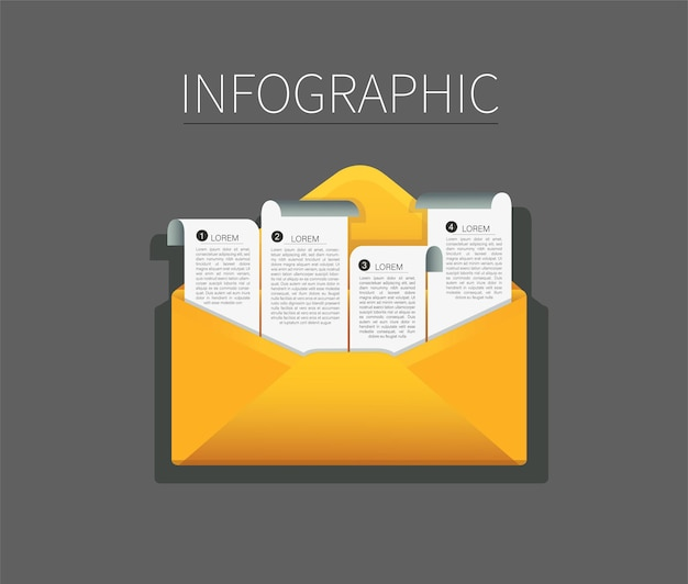 Set of envelope with note paper infographic . mail message concept