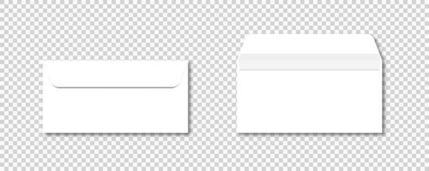 Set of envelopes on transparent background