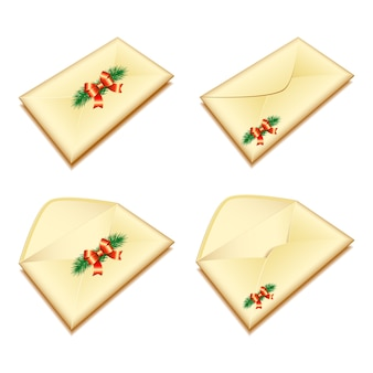 Set of envelopes with christmas seal.  illustration