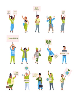 Set environmental activists holding posters go green save planet strike concept mix race protesters campaigning to protect earth demonstrating against global warming full length vertical