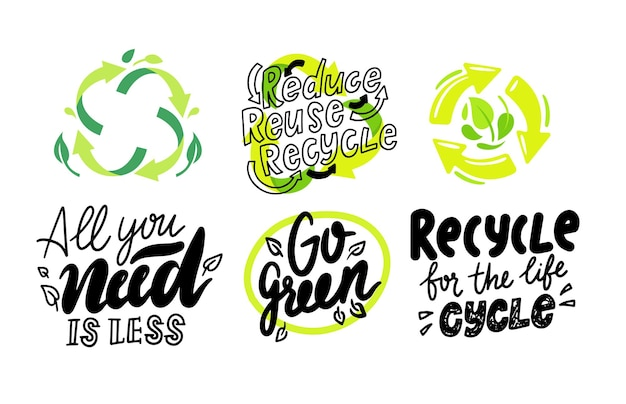 Set of environmental labels, recyclable triangle sign, compostable waste, biodegradable garbage or litter logo, icons